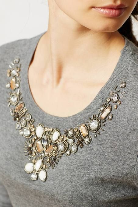 A Top with it's own Necklace | Embellished Neckline Grey #Pullover | #stylish #fashion