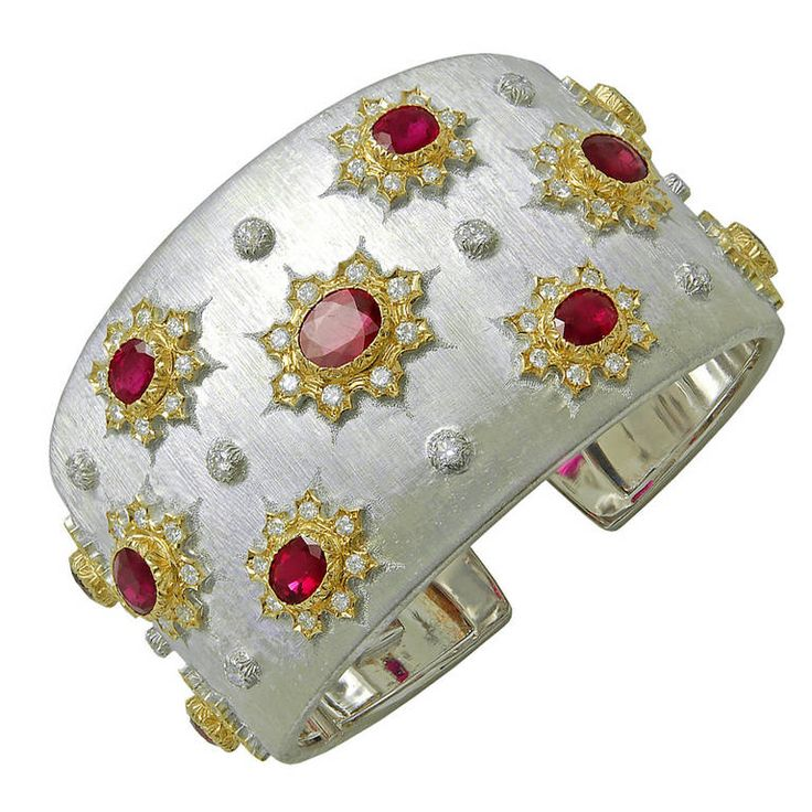 M. Buccellati Ruby Diamond Cuff Bangle | From a unique collection of vintage bangles at https://www.1stdibs.com/jewelry/bracelets/bangles/