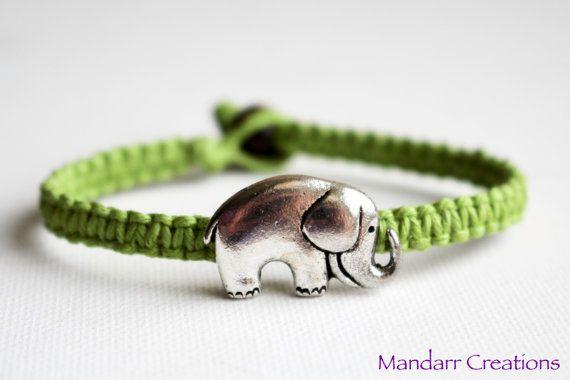 Lime Green Elephant Hemp Bracelet Macrame by MandarrCreations