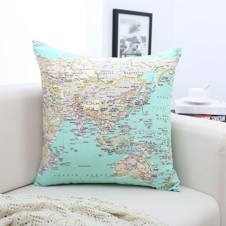 Blue Map Printed 100% Cotton Cushion Cover Home Decor Throw Pillowcase Sofa Bed