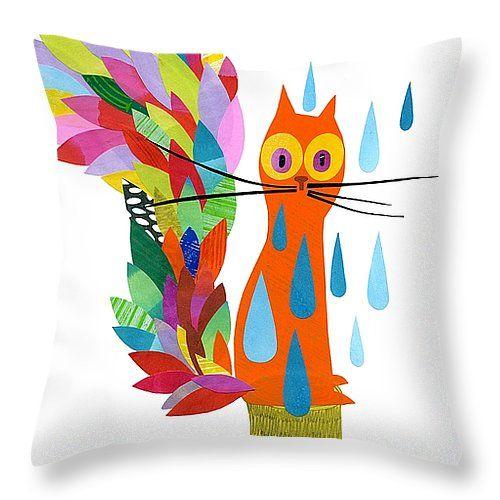 """Firefox Throw Pillow 14"""" x 14"""" by Anne Vasko"""