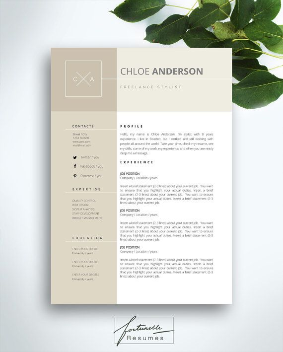 """Resume Template 3 page / CV Template + Cover Letter / Instant Download for MS Word / """"Chloe"""""""