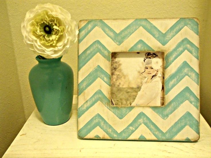 Chevron Stripe Teal Picture Frame. $18.00, via Etsy.