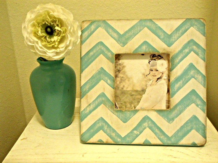 Chevron Stripe Teal Picture Frame. $18.00, via Etsy.