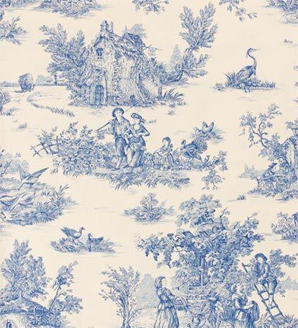 Aqua Blue and Teal Fabrics Pastorale Blue