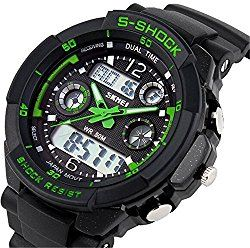 Misskt 30m Water-proof Boys Girls Sport Digital Led Watch with Alarm Stopwatch Children Watch green