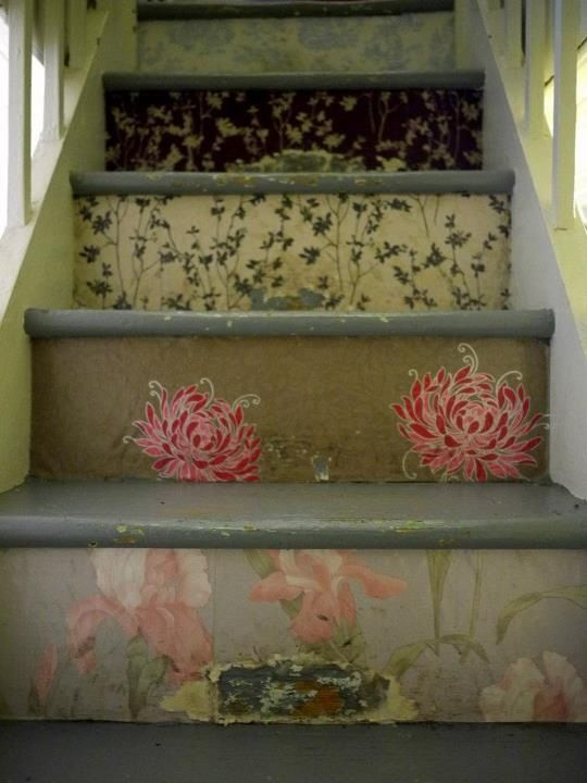 Add salvaged bits of vintage Wallpaper to stair steps in a cottage home house. Upcycle, recycle, repurpose! For ideas and goods shop at Estate ReSale & ReDesign, Bonita Springs, FL