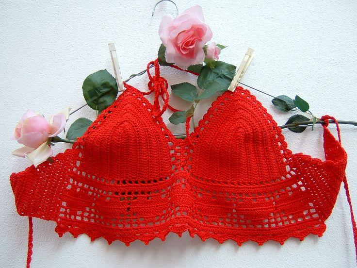 Top rosso all'uncinetto-Top crochet hippie chic di cotone- Festival Coachella-Reggiseno con i cuori-Moda boho spiaggia : Altre mode di i-pizzi-di-anto