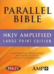 Amplified & NKJV Parallel Bible Bonded Leather, Black, Large Print  -