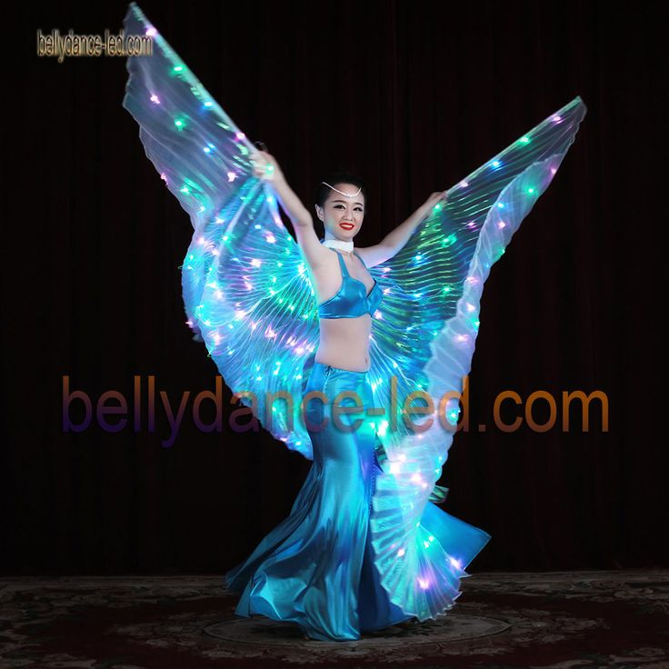 3 colored LED isis wings belly dance club show light performance blue green pink #bellytreasure