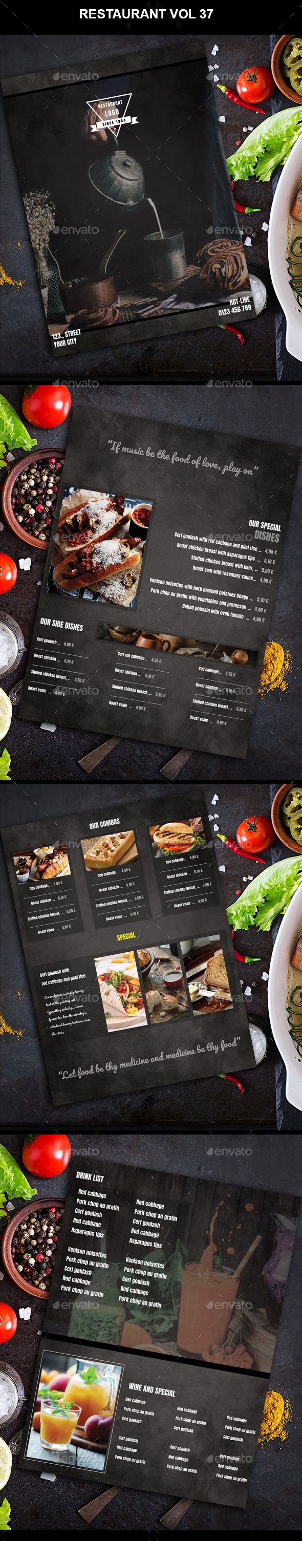 #Restaurant #Menu #vol 37 - Food Menus Print Templates