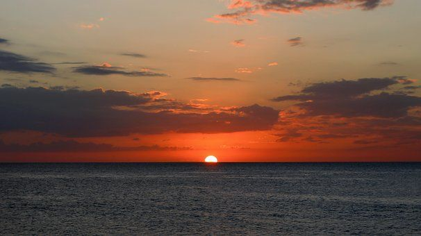 Zachód Słońca, Morze, Krajobraz