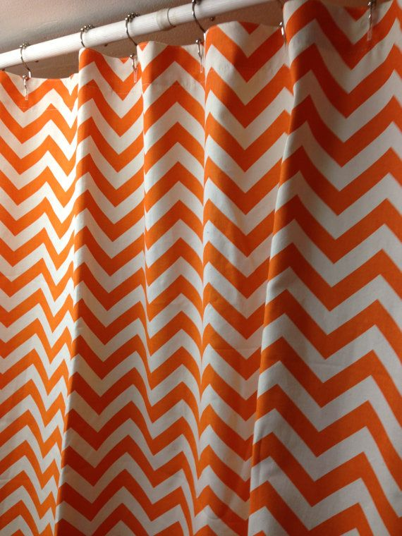 Extra Long Fabric Shower Curtain 72 X 84 Inches Premier Prints Zig Zag Chevron Mandarin Orange