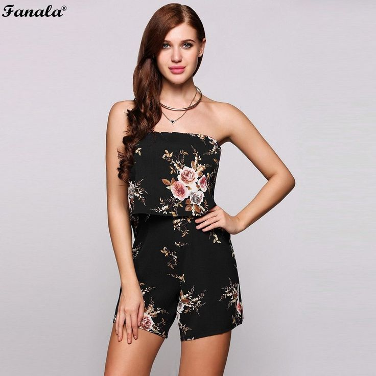 FANALA Playsuit Summer Women Jumpsuit 2017 Sexy Off the Shoulder Beach Bodysuit Sleeveless Printed Floral Rompers Female #20-30