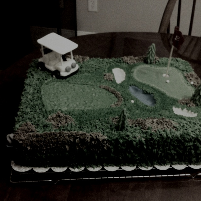 Golf course 18th hole cake made by my very own mother took her a lot of time and it turned out great!: Hole Cakes