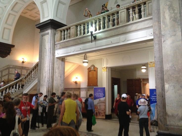 Inside the foyer at Brisbane City Hall.