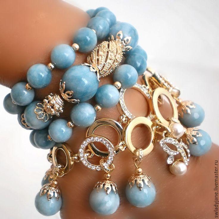 Купить LARIMAR LOVE Браслет (Серьги) с ларимаром - голубой, ювелирные украшения, модные серьги