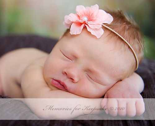 Peach Baby Girl Flower Skinny Elastic Headband, Newborn Girls Photo Props, Infant Toddler Girl Headbands Prop, Ready to Ship on Etsy, $8.25