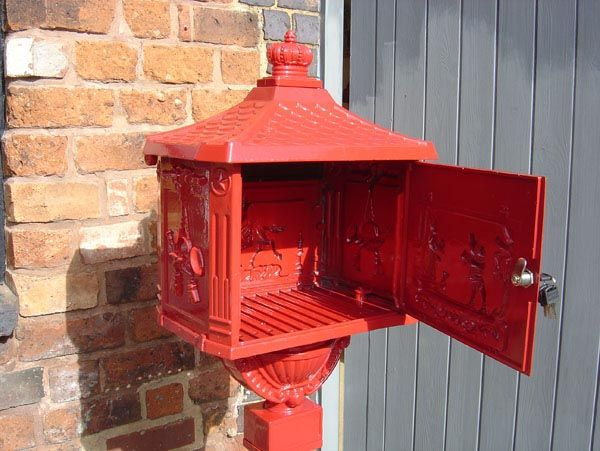 Red Free Standing Post Box In 2020 Post Box Wall Mounted Post Box Hanging Basket Brackets