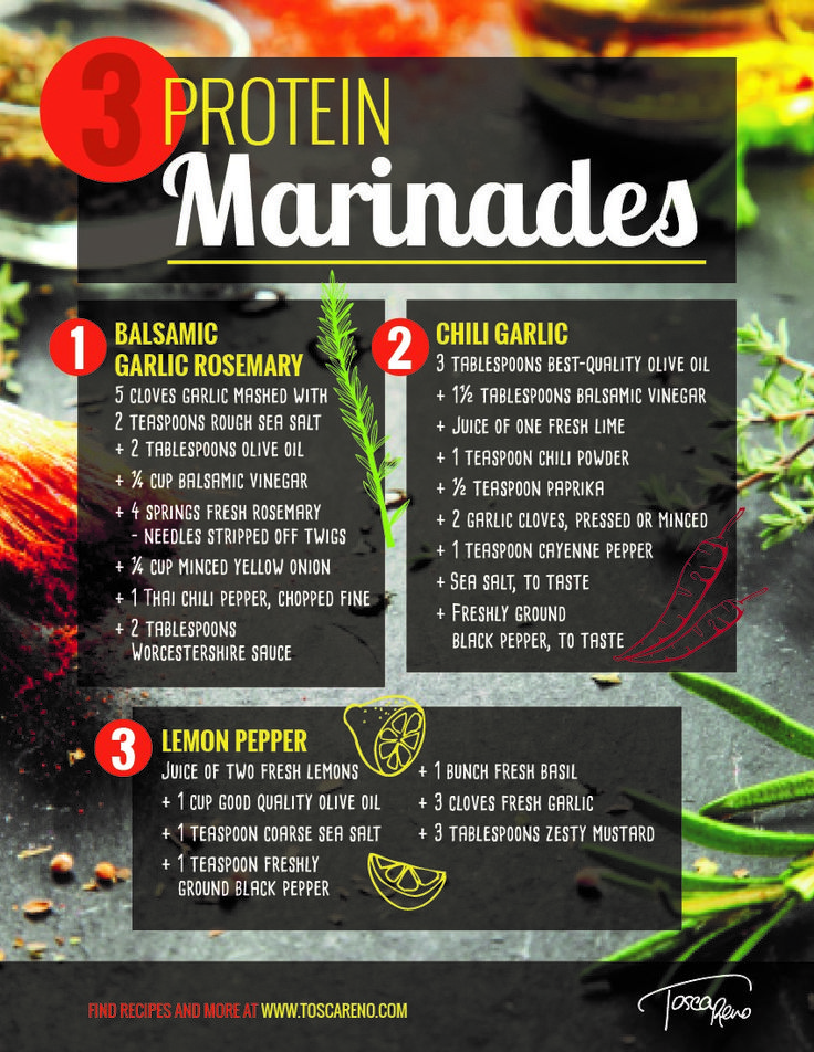 Looking to give your #protein a flavor boost? Try one of these three #EatClean #marinades! Simple and delicious - try them on #chicken, #salmon, #bison or #cauliflower steaks! #marinade #eatingclean #cleaneating #toscareno #flavormaker #garlic #lemon #oliveoil #rosemary #sauce #spice