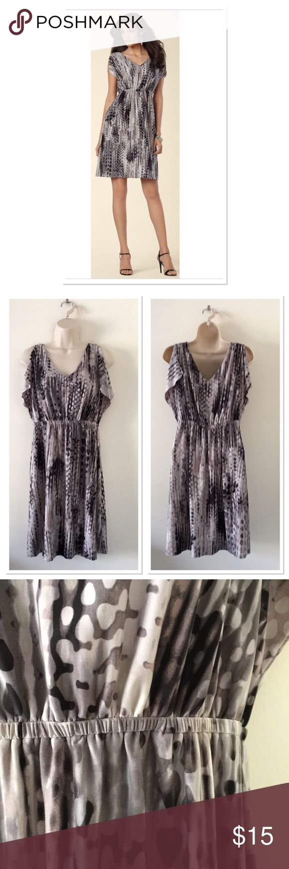 Soma V Neck Dress Split dolman sleeve dress. Color is ultra black. Is black and different shades of grey. Elastic waist with soft feel that soma puts into most of their clothes. EUC but good condition with no tears, stains. Soma Dresses