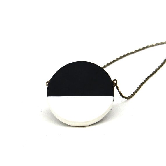 SALE / black and white circle necklace / minimal by sloanandtommy
