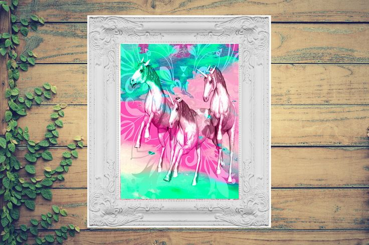 Pink, green and blue mandala, unicorn artwork print by MermaidSeaWolf on Etsy