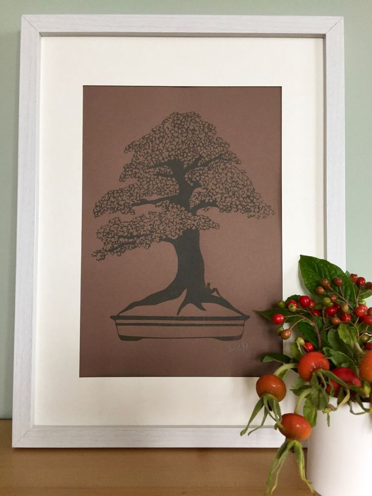 Autumn Brown Print Collection, Unframed print, Screen print art, A4 print, Handmade gift, Maple tree, Bookworm gifts, Signed print, Bonsai by CarolineArgo on Etsy https://www.etsy.com/uk/listing/479023885/autumn-brown-print-collection-unframed