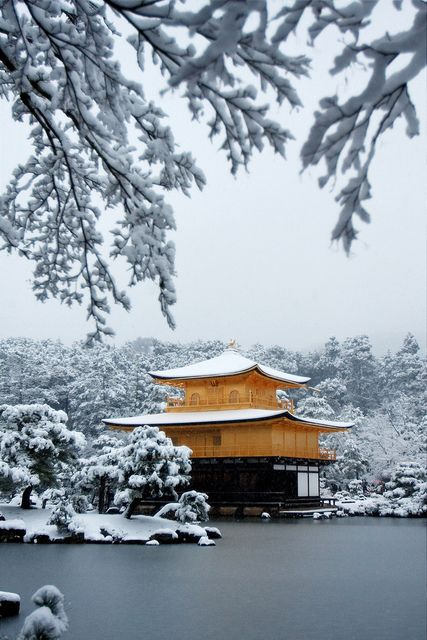 Japanese temple, snow