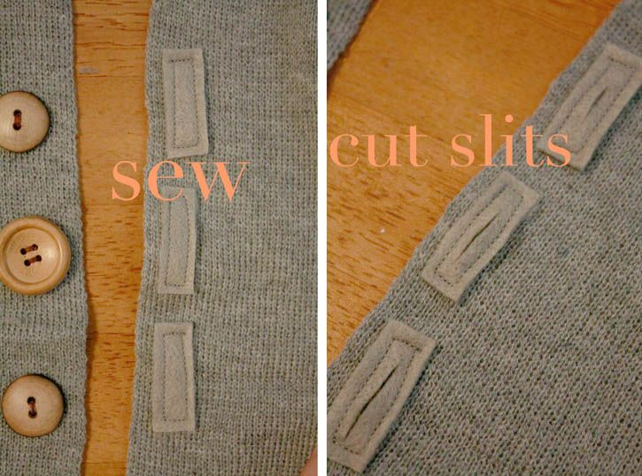 """"""" Again, if you are fancy, you can make real buttonholes, but my buttonhole-maker is broken. So I cut three pieces of felt, approx. 1.5x hight and .5x width of each button, stitched them on the other side of the scarf, and put a small slit in the center to slide the buttons through. Start small with the slit, it doesn't take as much as you'd think!"""""""