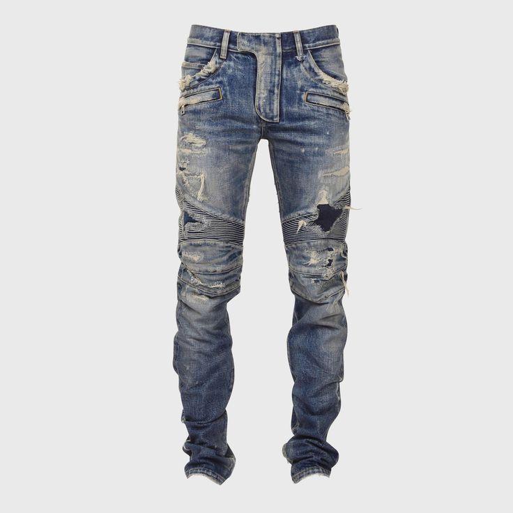 #Balmain #Destroyed #Ribbed #Biker #Jeans