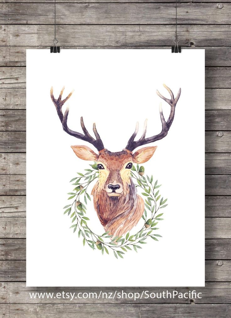 Deer stag antlers watercolor acorn wreath | modern graphic minimalist Christmas - Printable Xmas decor wall art - digital print