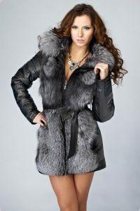 Женские кожаные куртки с мехом  5