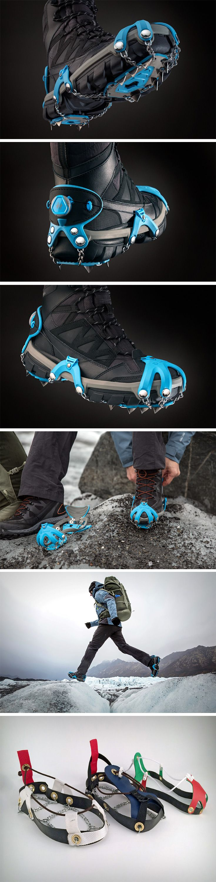 "Designed to be snapped on to your trekking shoes when you need every bit of traction you can get, the Yaktrax Summit looks bold, rugged, and like it can do the job. The Summit straps to any shoe (you buy it according to your shoe size), and secures itself tightly. The chains provide traction, but not as much as the 3/8"" curved sawtooth stainless steel spikes that dig right into the ice or snow, making sure you'll never lose grip. BUY NOW!"