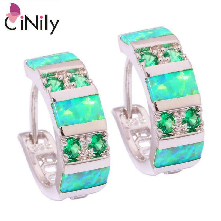 "CiNily Created Green Fire Opal Green Quartz Silver Plated Earrings Wholesale Fashion for Women Jewelry Hoop Earrings 3/4"" OH3920"