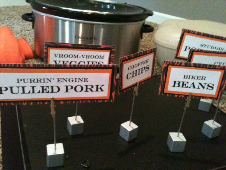 Harley Davidson 60th Birthday Party - she has some cool food labels / names