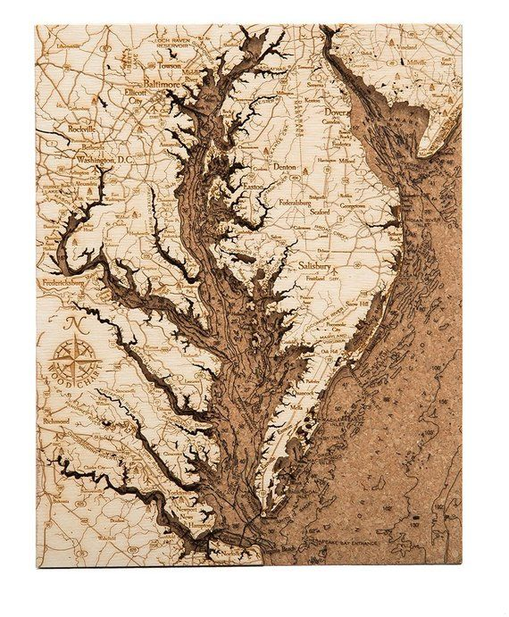 Chesapeake Bay Topographic Map.Chesapeake Bay Topographic Cork Decoration Beneaththesail In 2019