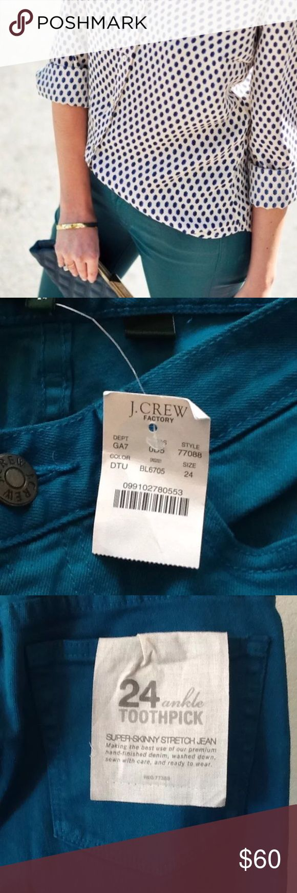 """nwt//j. crew factory•toothpick ankle skinnies 🛍: j. crew factory ▫️super skinny stretch toothpick ankle jean - sold out online! ▫️garment dyed teal color; color code on tag is DTU - color truest in last photo ▫️gorgeous spring color ▫️size: 24 ▫️measurements:                  waist laying flat: 13.5""""                 inseam: 27""""                 rise: 7"""" ▫️condition: new with tags •please see all pics, read description, and ask questions before purchasing  •no trades• J. Crew Factory Jeans…"""