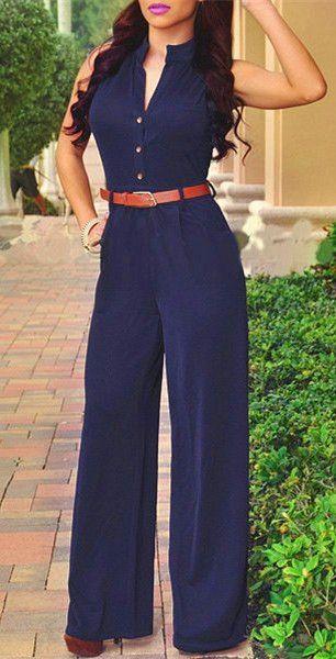 Purplish Blue Sleeveless Jumpsuit