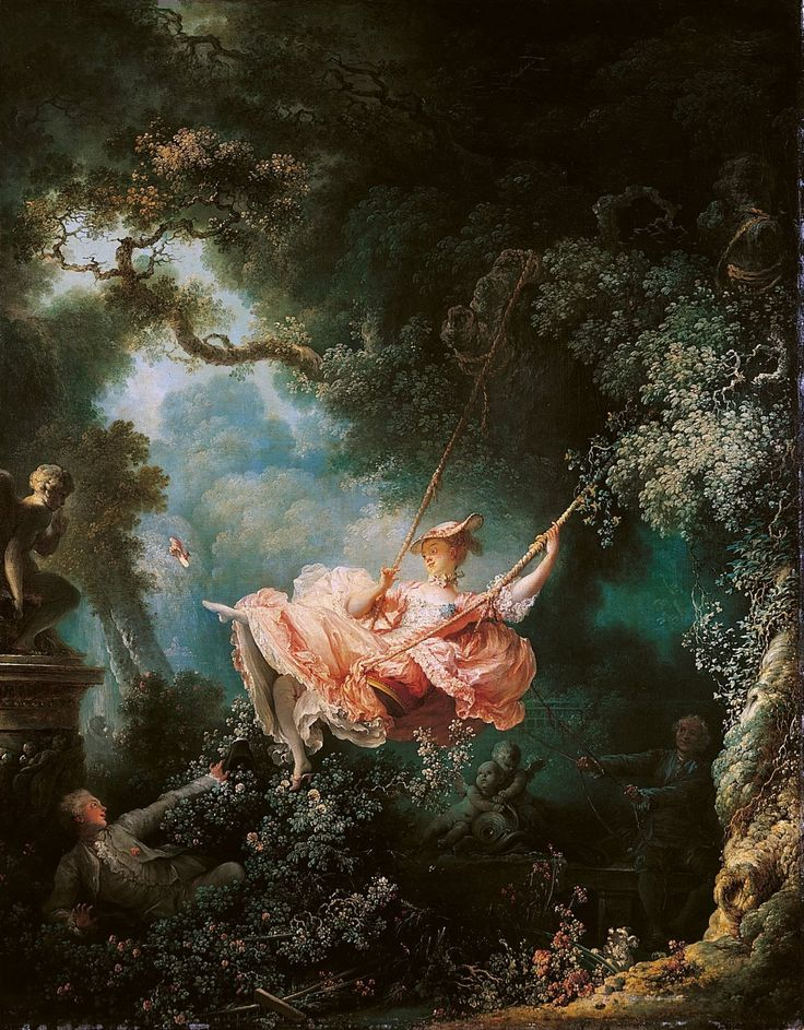 The Swing, is an 18th century oil painting by Jean-Honoré Fragonard. The painting depicts a young man hidden in the bushes, watching a woman on a swing, being pushed by her elderly husband, almost hidden in the shadows, and unaware of the lover. As the lady goes high on the swing, she lets the young man take a furtive peep under her dress, all while flicking her own shoe off in the direction of a Cupid and turning her back to two angelic cherubim on the side of her husband.
