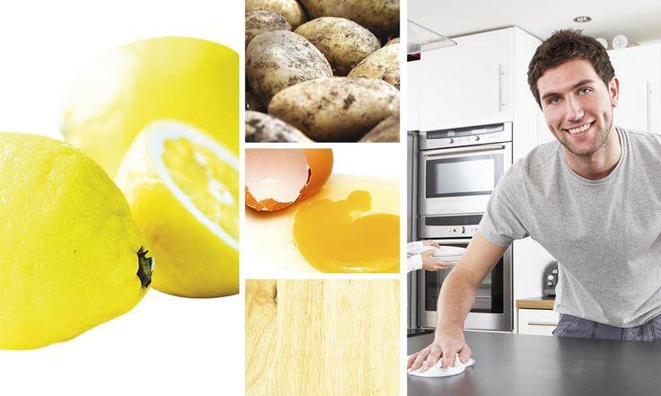 Det magiska är att det mesta redan finns hemma i ditt kök. Putsa upp gamla skinnfåtöljen med ett bananskal. Få ett spegelblankt trägolv med ägg. En skinande spis med bakpulver. Skrubba rent kastrullen med socker. Här är 10 miljövänliga tips!
