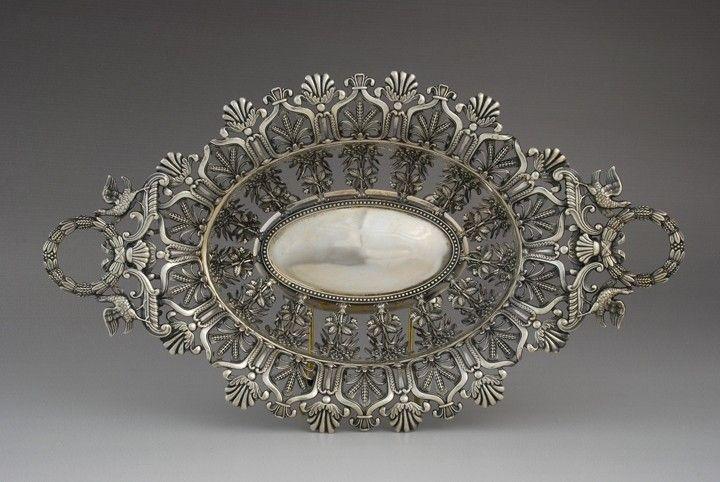 Antique silver openwork dish, Heilbronn