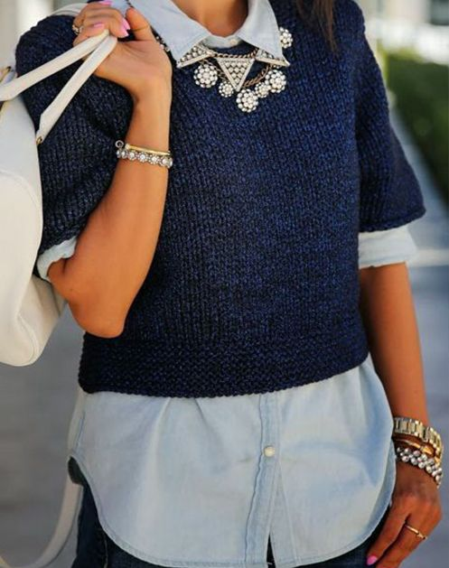 7 Surprising Ways to Build a Better Outfit: THE PERFECT PAIR: Chambray Shirt + Statement Necklace THE WILD CARD: Cropped Sweater