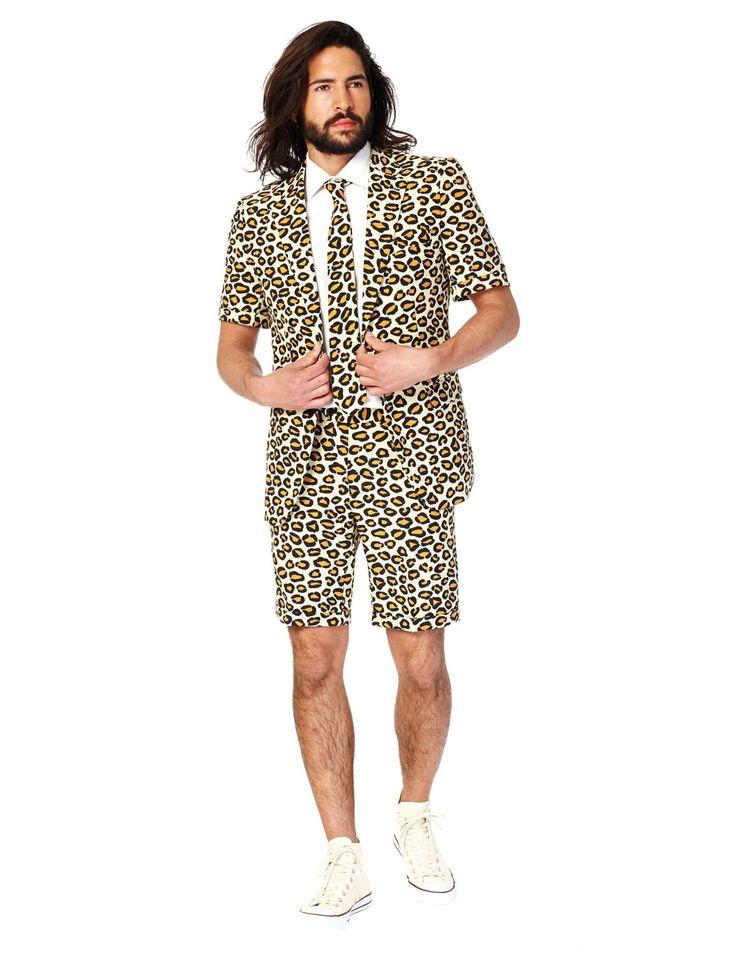 Abito estivo Mr Giaguaro per uomo Opposuits™: Questo costume da Mr Giaguaro per uomo e' concesso in licenza ufficiale Opposuits™.Esso e' composto da una giacca a maniche corte, un bermuda ed una cravatta (camicia e scarpe non...