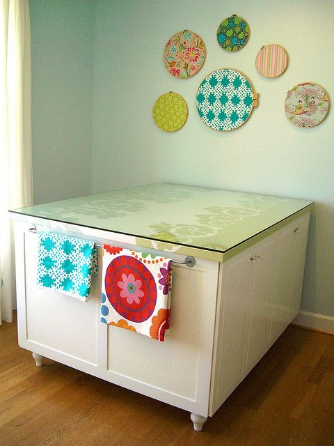 Craft Room Sewing Table: Wall Art, Sewing Tables, Crafts Rooms, Crafts Tables, Rooms Ideas, Ikea Hacks, Embroidery Hoop, Sewing Rooms, Cut Tables
