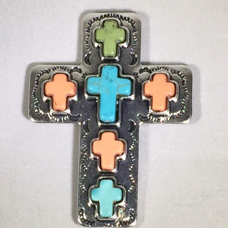 Key Holder//Magnet//Cross Jewelry//Silver Cross//Cross Pendent//Magnet//Turquoise Cross//Purse Key Holder//Attractable//Purse Jewelry by AttractablesICT on Etsy