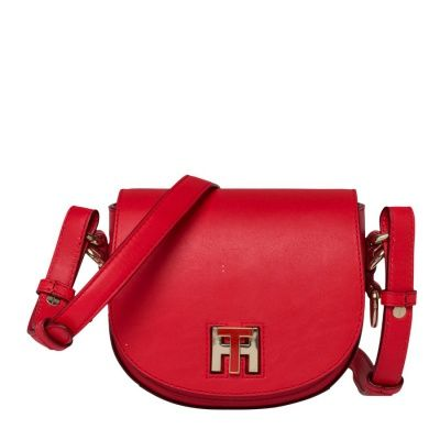 Tommy Hilfiger Twist Leather Mini Crossover Fiery Red Handtas AW0AW03698615