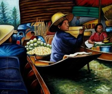 "Saatchi Art Artist Dan Civa; Painting, ""Floating Market, Bangkok, Thailand, No.L."" #art"