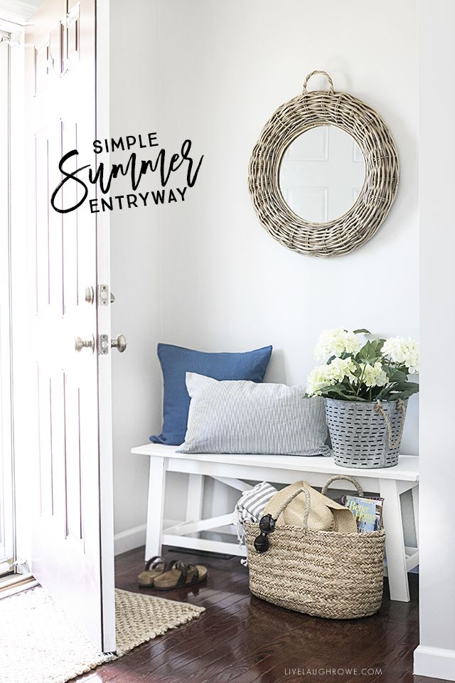A Simple Summer Entryway With Shades Of Blue And Seasonal Flowers Create Warm Welcoming