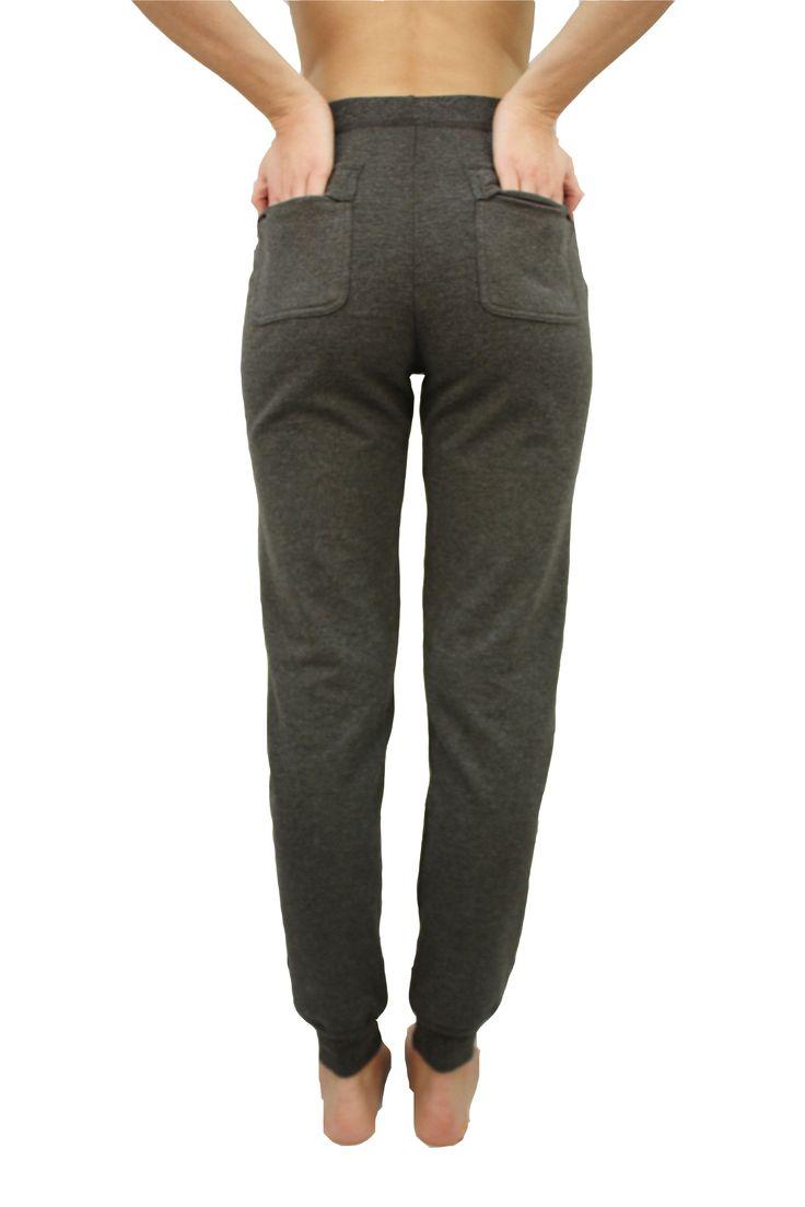 Cozy Bamboo Fleece lined pants...J76 BambooWear Fleece Pant in Charcoal Grey and Purple Plum